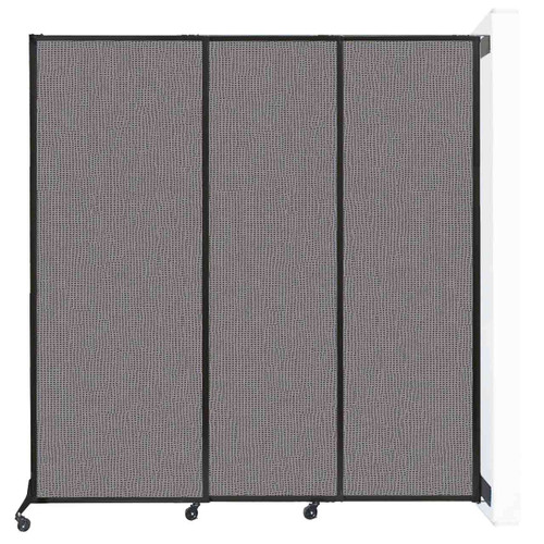 """Wall-Mounted QuickWall Sliding Partition 7' x 7'4"""" Slate Fabric"""