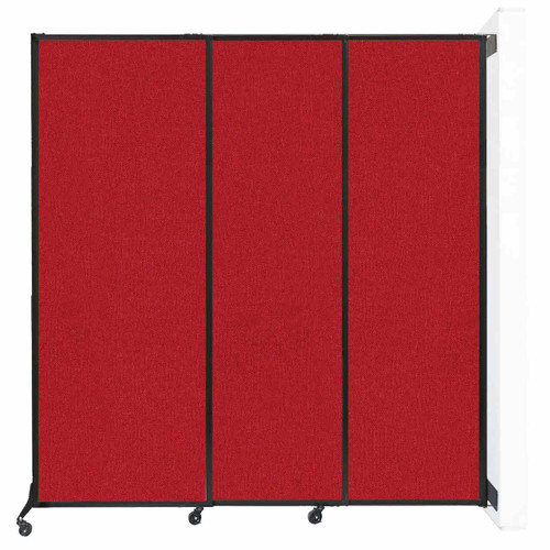"Wall-Mounted QuickWall Sliding Partition 7' x 7'4"" Red Fabric"