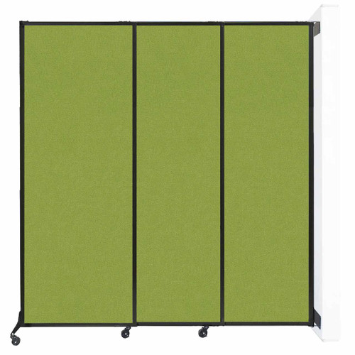 """Wall-Mounted QuickWall Sliding Partition 7' x 7'4"""" Lime Green Fabric"""