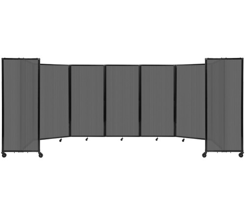 """Room Divider 360 Folding Portable Partition 19'6"""" x 6' Dark Gray Fluted Polycarbonate"""