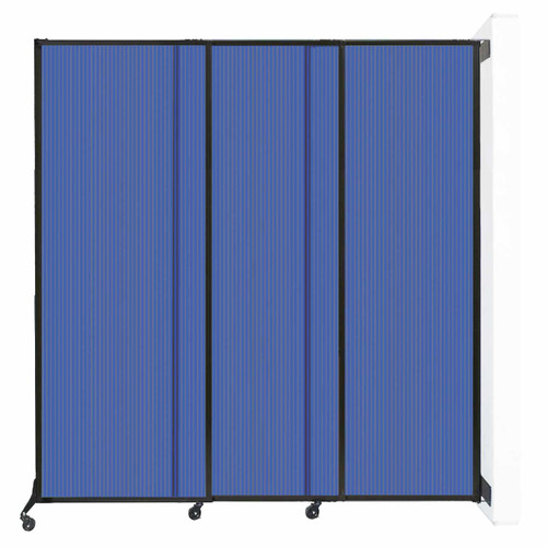 "Wall-Mounted QuickWall Sliding Partition 7' x 7'4"" Blue Polycarbonate"
