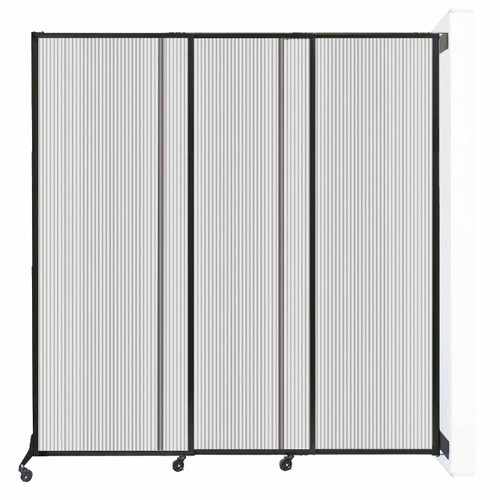 "Wall-Mounted QuickWall Sliding Partition 7' x 7'4"" Clear Polycarbonate"