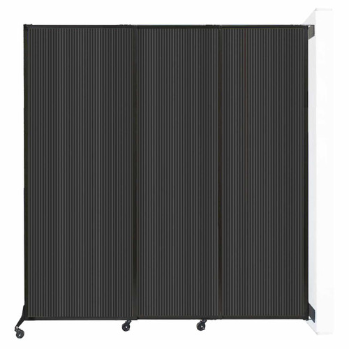 """Wall-Mounted QuickWall Sliding Partition 7' x 7'4"""" Dark Gray Polycarbonate"""