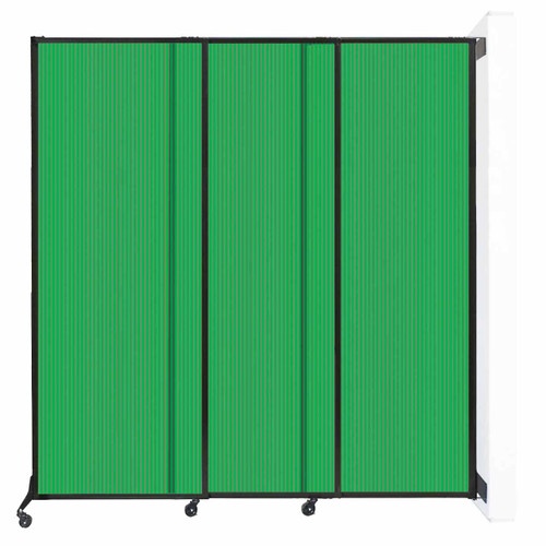 "Wall-Mounted QuickWall Sliding Partition 7' x 7'4"" Green Polycarbonate"