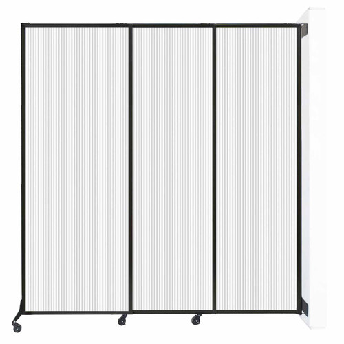 "Wall-Mounted QuickWall Sliding Partition 7' x 7'4"" Opal Polycarbonate"