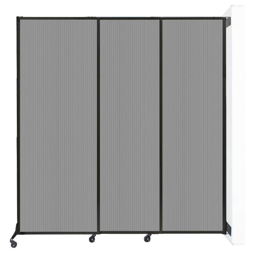 """Wall-Mounted QuickWall Sliding Partition 7' x 7'4"""" Light Gray Polycarbonate"""