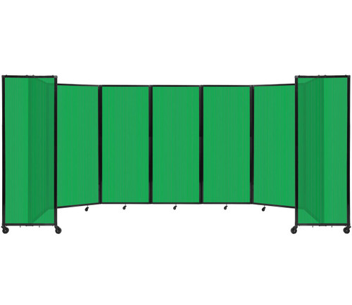 """Room Divider 360 Folding Portable Partition 19'6"""" x 6' Green Fluted Polycarbonate"""