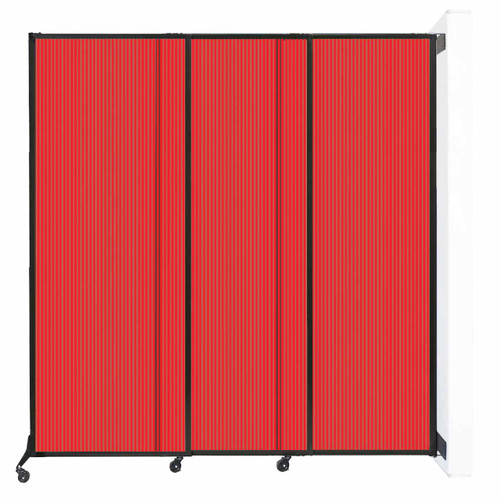 """Wall-Mounted QuickWall Sliding Partition 7' x 7'4"""" Red Polycarbonate"""