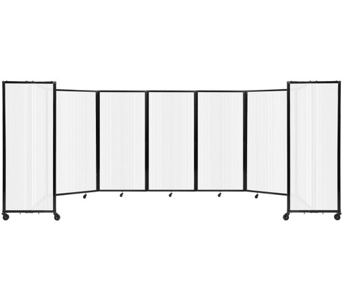"""Room Divider 360 Folding Portable Partition 19'6"""" x 6' Opal Fluted Polycarbonate"""