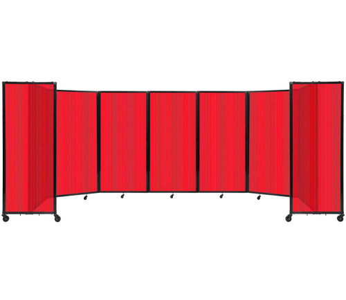 """Room Divider 360 Folding Portable Partition 19'6"""" x 6' Red Fluted Polycarbonate"""