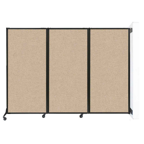 """Wall-Mounted QuickWall Folding Partition 8'4"""" x 5'10"""" Beige Fabric"""