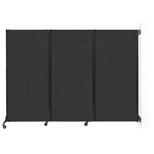 "Wall-Mounted QuickWall Folding Partition 8'4"" x 5'10"" Black Fabric"