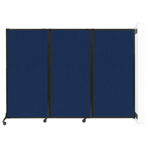 """Wall-Mounted QuickWall Folding Partition 8'4"""" x 5'10"""" Navy Blue Fabric"""