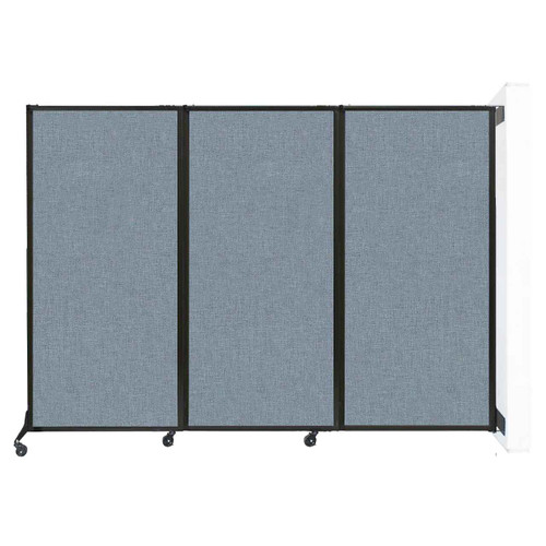 """Wall-Mounted QuickWall Folding Partition 8'4"""" x 5'10"""" Powder Blue Fabric"""