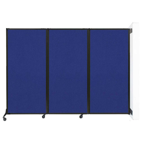 """Wall-Mounted QuickWall Folding Partition 8'4"""" x 5'10"""" Royal Blue Fabric"""