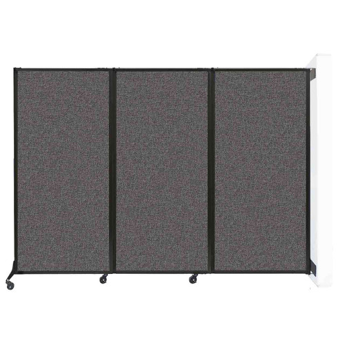 """Wall-Mounted QuickWall Folding Partition 8'4"""" x 5'10"""" Charcoal Gray Fabric"""