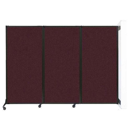"Wall-Mounted QuickWall Folding Partition 8'4"" x 5'10"" Cranberry Fabric"