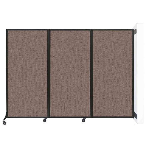 """Wall-Mounted QuickWall Folding Partition 8'4"""" x 5'10"""" Latte Fabric"""
