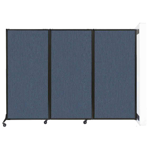 "Wall-Mounted QuickWall Folding Partition 8'4"" x 5'10"" Ocean Fabric"