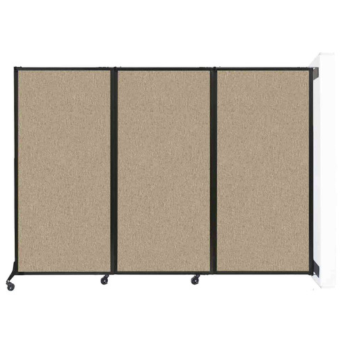 """Wall-Mounted QuickWall Folding Partition 8'4"""" x 5'10"""" Rye Fabric"""