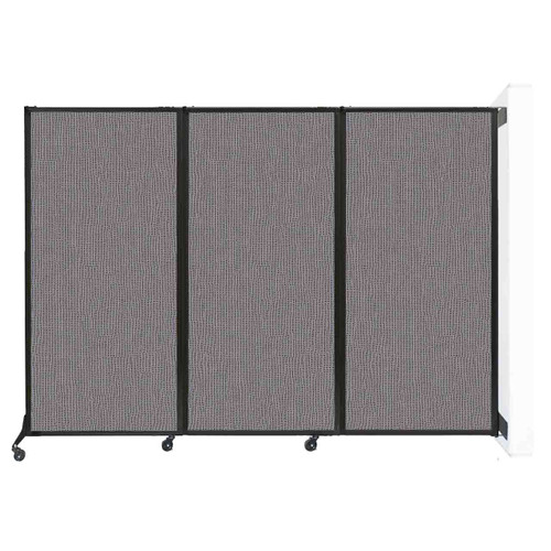 """Wall-Mounted QuickWall Folding Partition 8'4"""" x 5'10"""" Slate Fabric"""