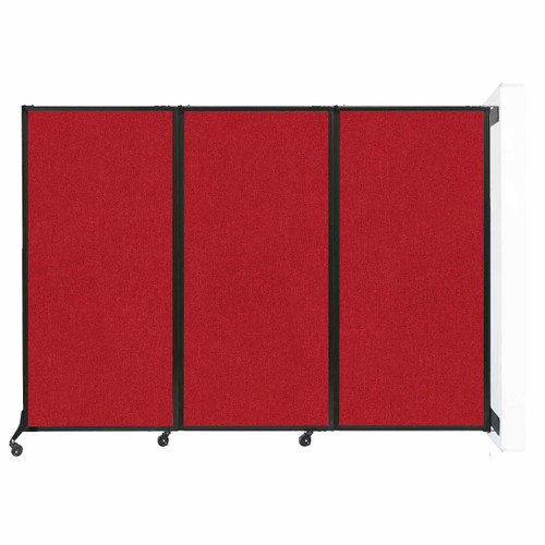 """Wall-Mounted QuickWall Folding Partition 8'4"""" x 5'10"""" Red Fabric"""