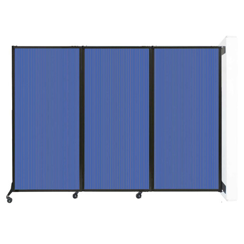 "Wall-Mounted QuickWall Folding Partition 8'4"" x 5'10"" Blue Polycarbonate"