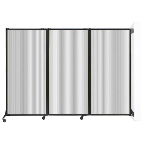 """Wall-Mounted QuickWall Folding Partition 8'4"""" x 5'10"""" Clear Polycarbonate"""