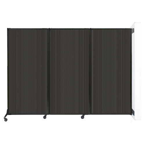 """Wall-Mounted QuickWall Folding Partition 8'4"""" x 5'10"""" Dark Gray Polycarbonate"""