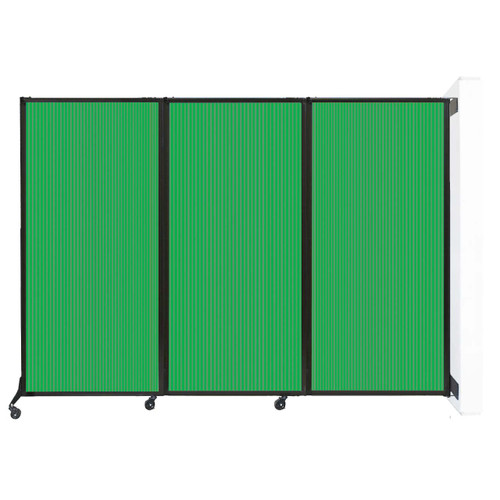 "Wall-Mounted QuickWall Folding Partition 8'4"" x 5'10"" Green Polycarbonate"
