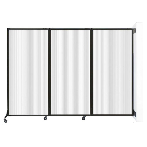 "Wall-Mounted QuickWall Folding Partition 8'4"" x 5'10"" Opal Polycarbonate"