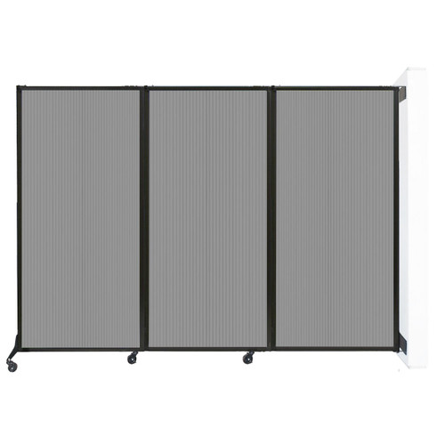 """Wall-Mounted QuickWall Folding Partition 8'4"""" x 5'10"""" Light Gray Polycarbonate"""