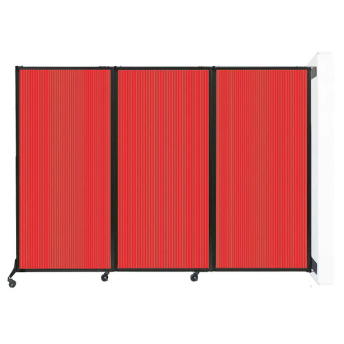 "Wall-Mounted QuickWall Folding Partition 8'4"" x 5'10"" Red Polycarbonate"