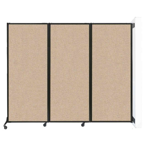 "Wall-Mounted QuickWall Folding Partition 8'4"" x 6'8"" Beige Fabric"