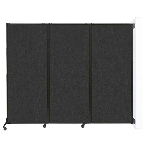 """Wall-Mounted QuickWall Folding Partition 8'4"""" x 6'8"""" Black Fabric"""
