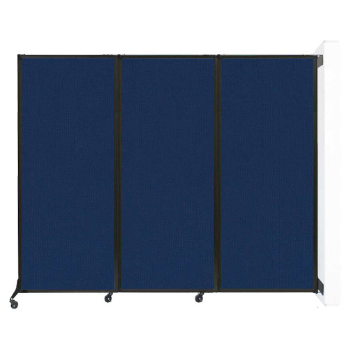 """Wall-Mounted QuickWall Folding Partition 8'4"""" x 6'8"""" Navy Blue Fabric"""