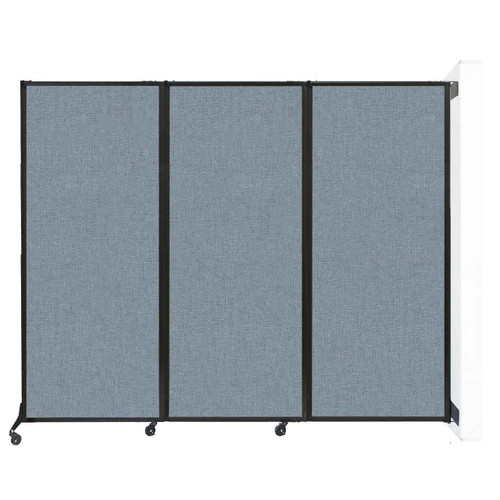 """Wall-Mounted QuickWall Folding Partition 8'4"""" x 6'8"""" Powder Blue Fabric"""