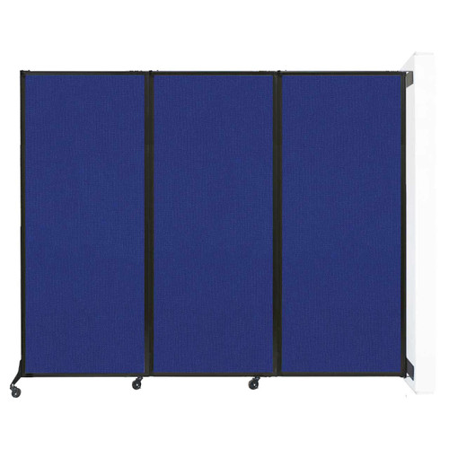"""Wall-Mounted QuickWall Folding Partition 8'4"""" x 6'8"""" Royal Blue Fabric"""