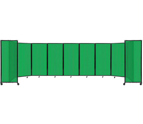 Room Divider 360 Folding Portable Partition 25' x 6' Green Fluted Polycarbonate