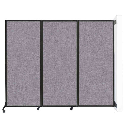 """Wall-Mounted QuickWall Folding Partition 8'4"""" x 6'8"""" Cloud Gray Fabric"""