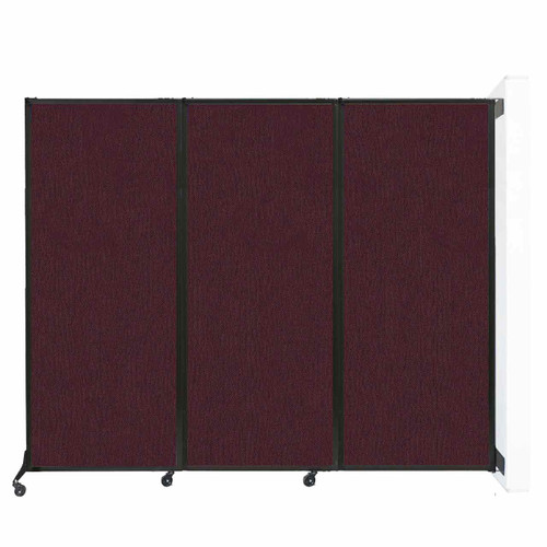 "Wall-Mounted QuickWall Folding Partition 8'4"" x 6'8"" Cranberry Fabric"