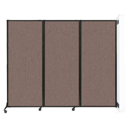 "Wall-Mounted QuickWall Folding Partition 8'4"" x 6'8"" Latte Fabric"
