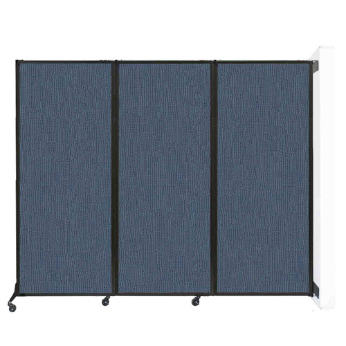 "Wall-Mounted QuickWall Folding Partition 8'4"" x 6'8"" Ocean Fabric"
