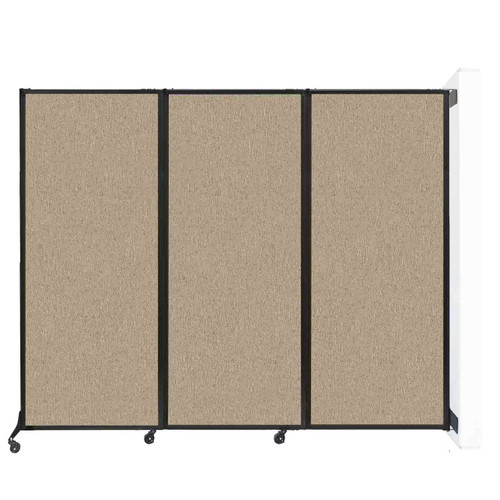 "Wall-Mounted QuickWall Folding Partition 8'4"" x 6'8"" Rye Fabric"