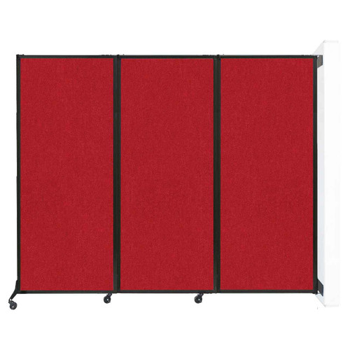 "Wall-Mounted QuickWall Folding Partition 8'4"" x 6'8"" Red Fabric"