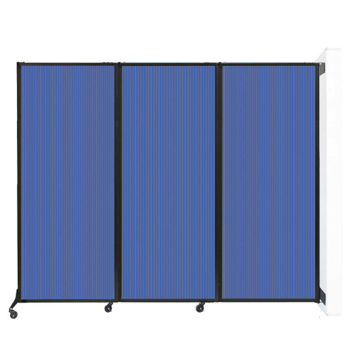 "Wall-Mounted QuickWall Folding Partition 8'4"" x 6'8"" Blue Polycarbonate"
