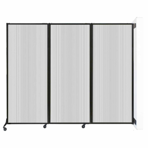 "Wall-Mounted QuickWall Folding Partition 8'4"" x 6'8"" Clear Polycarbonate"