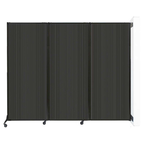 """Wall-Mounted QuickWall Folding Partition 8'4"""" x 6'8"""" Dark Gray Polycarbonate"""