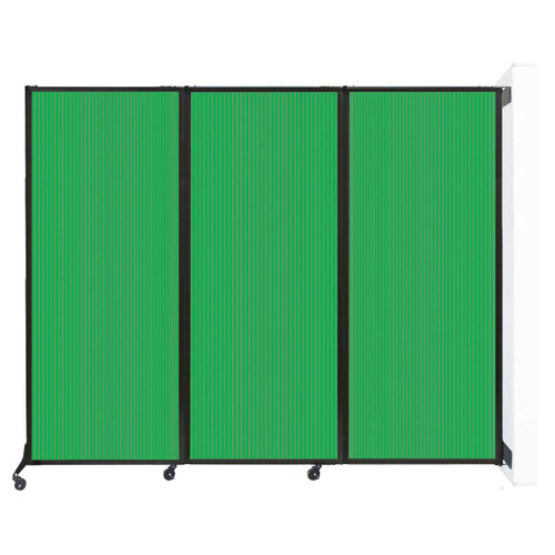"Wall-Mounted QuickWall Folding Partition 8'4"" x 6'8"" Green Polycarbonate"