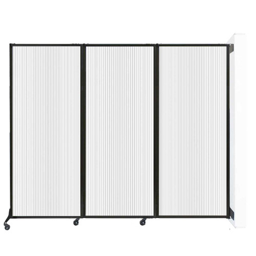 "Wall-Mounted QuickWall Folding Partition 8'4"" x 6'8"" Opal Polycarbonate"